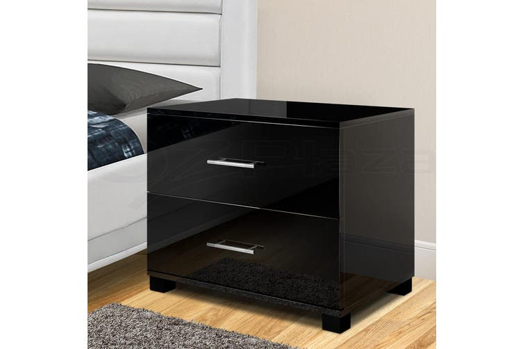Artiss Bedside Tables Drawers Side Table Gloss Bedroom Nightstand Black Lamp