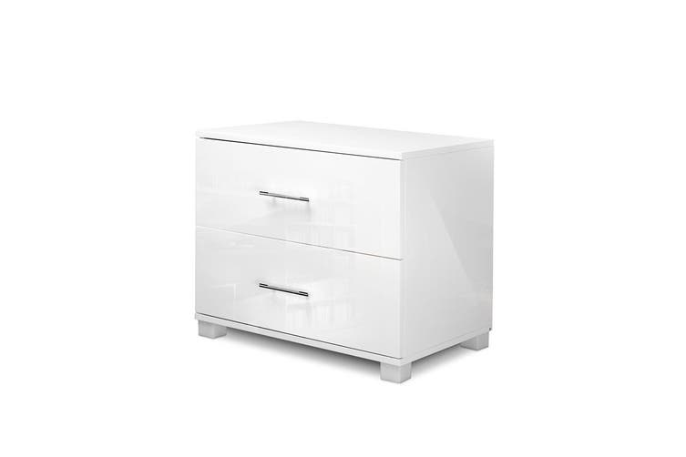 Artiss Bedside Tables Drawers Side Table Gloss White Bedroom Nightstand Lamp