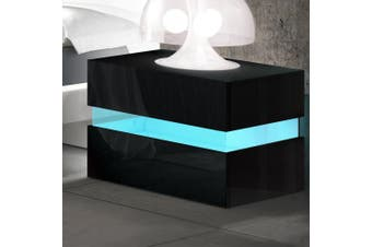 Artiss Bedside Tables Drawers RGB LED Side Table Black Gloss Nightstand