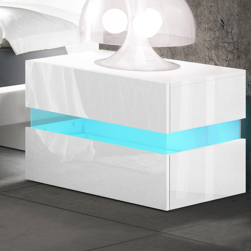 Artiss Bedside Tables Drawers Rgb Led Side Table White Gloss Nightstand Cabinet Kogan Com