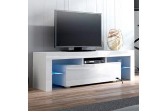 Artiss 130cm RGB LED TV Cabinet Entertainment Unit Stand Gloss Furniture White