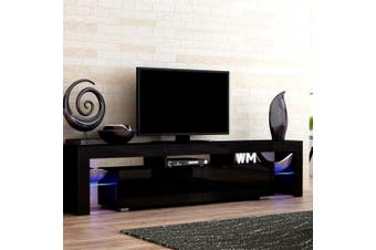 Artiss 189cm RGB LED TV Cabinet Entertainment Unit Stand Gloss Furniture Black