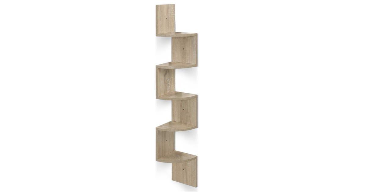 nai artiss 5 tier corner wall floating shelf mount display bookshelf rack oak furni m wall cor01 oak