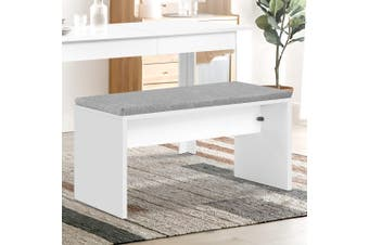 Artiss Dining Bench Upholstery Seat Stool Chair Cushion Furniture White 90cm