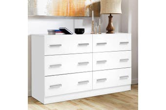 Artiss 6 Chest of Drawers Cabinet Dresser Tallboy Lowboy Storage Bedroom White