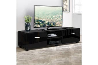 Artiss TV Cabinet Entertainment Unit Stand High Gloss Storage 140cm Black
