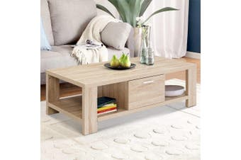 Artiss Coffee Table Wooden Shelf Storage Drawer Living Furniture Thick Tabletop