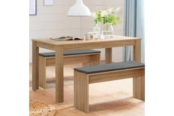 Artiss Dining Table 4 Seater Wooden Kitchen Set Oak 120cm Cafe Restaurant