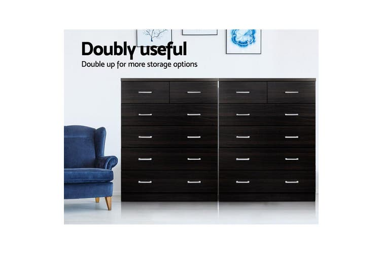 Artiss Tallboy 6 Chest of Drawers Dresser Storage Cabinet Bedroom Table Walnut