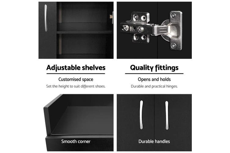Artiss Shoe Cabinet Shoes Storage Rack 21 Pairs Organiser Shelf Cupboard Black