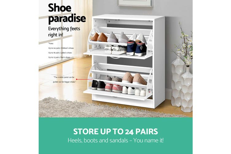 Artiss Shoe Cabinet Shoes Storage Rack 24 Pairs Wooden Organiser Shelf Cupboard