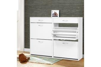 Artiss Shoe Cabinet Shoes Storage Rack Organiser White Shelf Drawer 36 Pairs