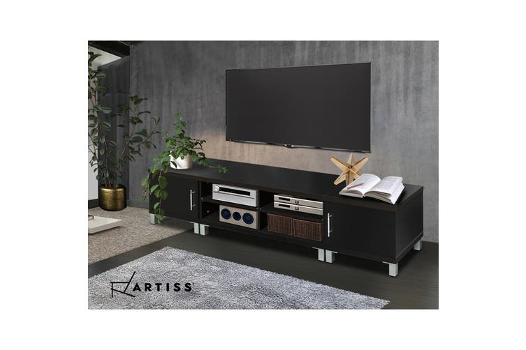 Artiss TV Cabinet Stand Entertainment Unit Black Storage Lowline 190CM