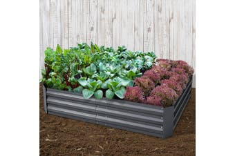 Greenfingers 150x90cm Galvanised Steel Raised Garden Bed Planter Aluminium Grey