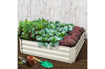 Greenfingers 2x Galvanised Steel Raised Garden Bed Planter 120 x 90 Cream