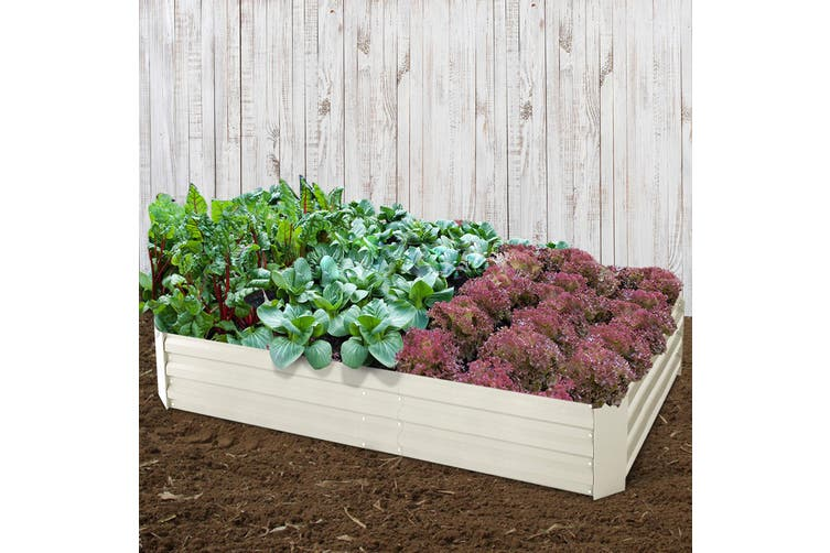 Greenfingers 2x Galvanised Steel Raised Garden Bed Cream Planter 150cm x 90cm