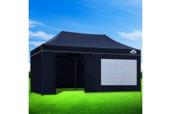 Instahut Aluminium Gazebo Pop Marquee Up 3x6m Outdoor Gazebos Wedding Tent Navy