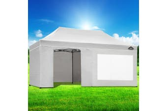 Instahut Gazebo Pop Up Marquee 3x6m Folding Wedding Tent Gazebos Shade White