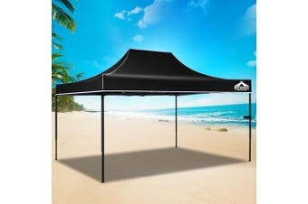 Instahut Gazebo Pop Up Marquee 3x4.5m Outdoor Tent Folding Wedding Gazebos Black