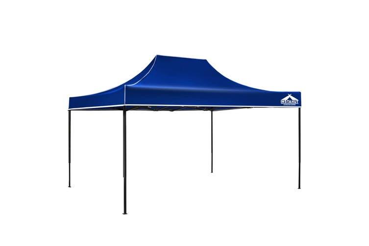Instahut Gazebo Pop Up Marquee 3x4.5m Outdoor Tent Folding Wedding Gazebos Blue