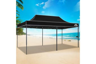 Instahut Gazebo Pop Up Marquee 3x6m Outdoor Tent Folding Wedding Gazebos Black6