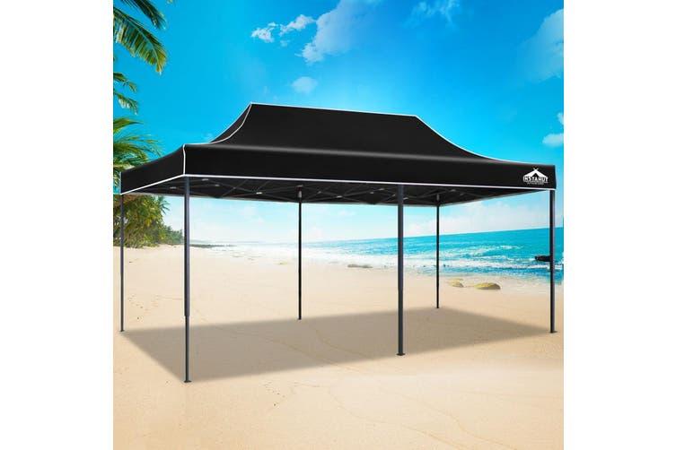 Instahut Gazebo Pop Up Marquee 3x6m Outdoor Tent Folding Wedding Gazebos Black6