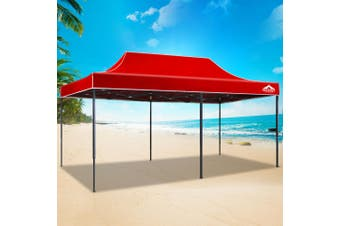 Instahut Gazebo Pop Up Marquee 3x6m Outdoor Tent Folding Wedding Gazebos Red