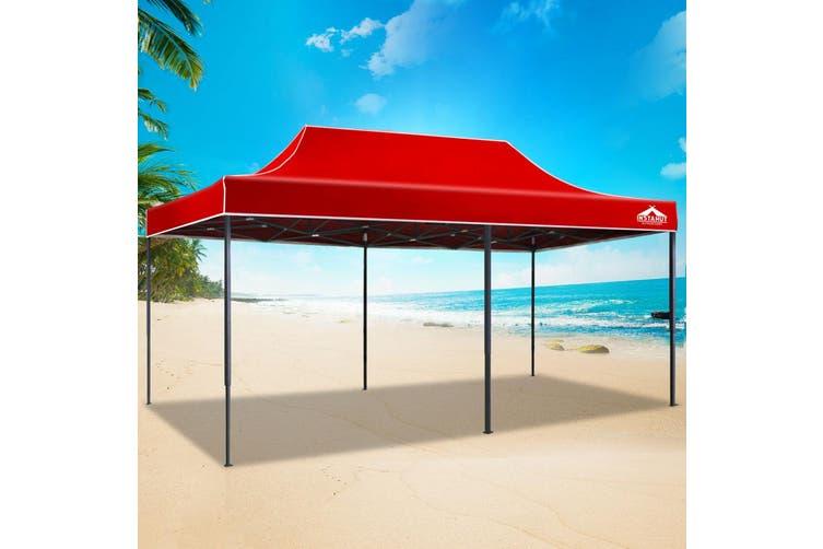 Instahut Gazebo Pop Up Marquee 3x6m Outdoor Tent Folding Wedding Gazebos Red