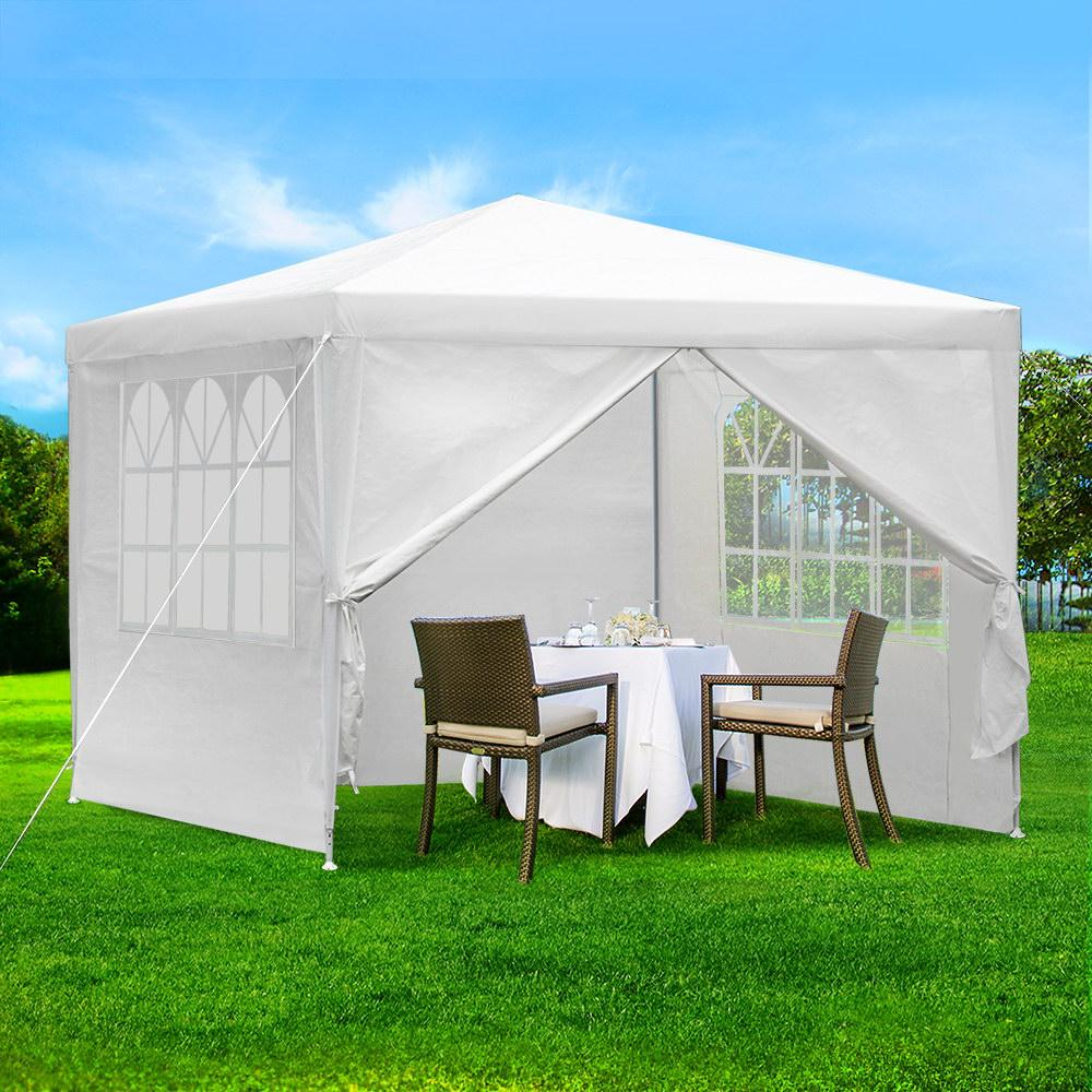 PE 120g Gazebo Marquee Party Tent 4 Sides Garden Patio Outdoor Canopy 3x3m
