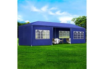 Instahut Gazebo 3x9m Outdoor Marquee side Wall Gazebos Tent Canopy Camping Blue 8 Panel