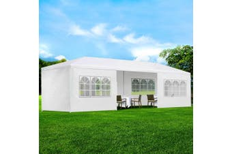 Instahut Gazebo 3x9m Outdoor Marquee side Wall Gazebos Tent Canopy Camping White 8 Panel