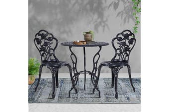 Gardeon 3 Piece Outdoor Setting Chairs Table Bistro Set Cast Aluminum Patio