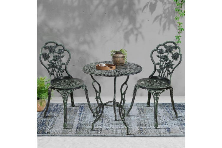 Gardeon Outdoor Setting 3 Piece Chairs Table Bistro Set Cast Aluminum Patio