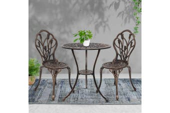 Gardeon 3 Piece Outdoor Setting Chairs Table Bistro Set Patio Cast Aluminum