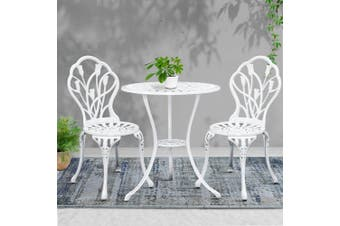 Gardeon Outdoor Setting 3 Piece Bistro Chairs Table Set Cast Aluminum Patio