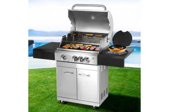 Outdoor Kitchen BBQ Gas Grill Propane Stainless Steel 4 Burners