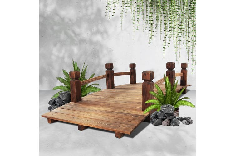 Gardeon Garden Wooden Rustic Bridge Decoration Decor Outdoor Landscape 160cm Length Rail