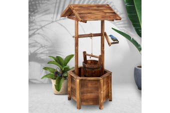 Gardeon Outdoor Garden Wishing Well Planter Flower Bucket Wooden Decor Rustic