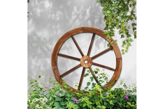 Gardeon Large Wooden Wagon Wheel Rustic Outdoor Garden Decor Indoor Wall Feature