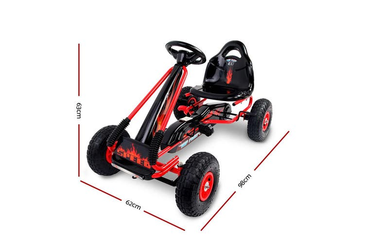 RIGO Pedal Go Kart Car Ride On Toys Racing Bike Cars Rubber Tyre Adjustable Seat
