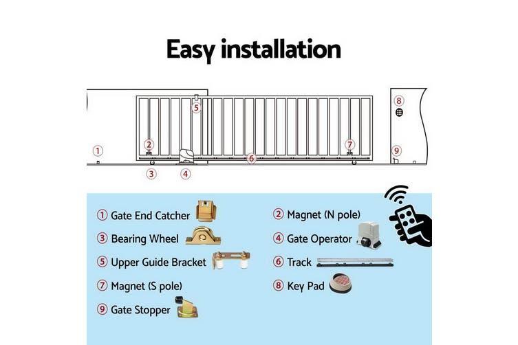 LockMaster Electric Sliding Gate Opener 1200KG Auto Keypad Hardware Kit Remote Control 4M for Driveway
