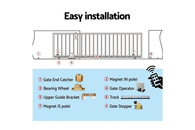 LockMaster Electric Sliding Gate Opener 1200KG Auto Remote Hardware Kit Remote Control 4M  for Driveway