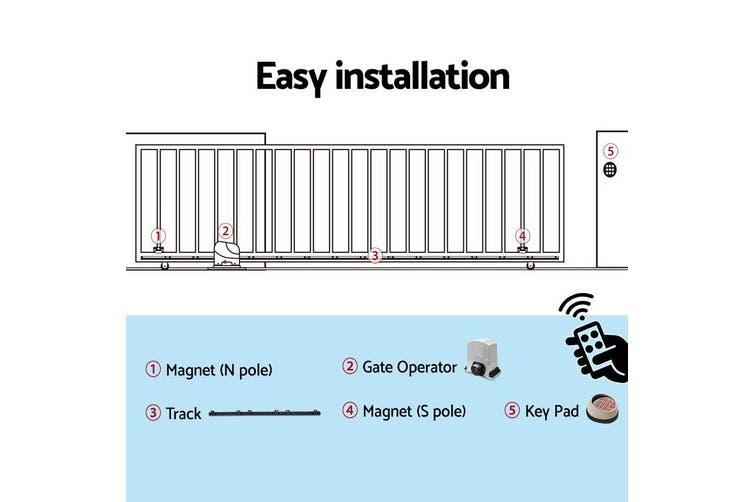 LockMaster Automatic Electric Sliding Gate Opener 1200KG Keypad Remote Rail Hardware Kit 4M