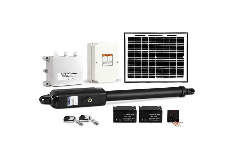 LockMaster Automatic Swing Gate Opener Full Solar Power Kit Remote Control 600KG Security Hardware Kit