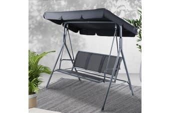 Gardeon Swing Chair Outdoor Furniture Hanging Chairs Hammock 3 Seater Canopy Garden Bench Seat Patio Gardeon Lounger Cushion Backyard Park Black