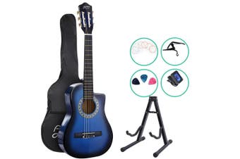 Alpha 34 Inch Guitar Classical Acoustic Cutaway Wooden Ideal Kids Gift Children 1/2 Size Blue w/ Capo Tuner