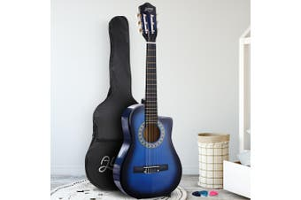 Alpha 34 Inch Guitar Classical Acoustic Cutaway Wooden Ideal Kids Gift Children 1/2 Size Blue