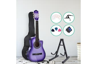 Alpha 34 Inch Guitar Classical Acoustic Cutaway Wooden Ideal Kids Gift Children 1/2 Size Purple w/ Capo Tuner