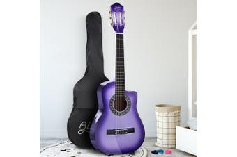 Alpha 34 Inch Guitar Classical Acoustic Cutaway Wooden Ideal Kids Gift Children 1/2 Size Purple