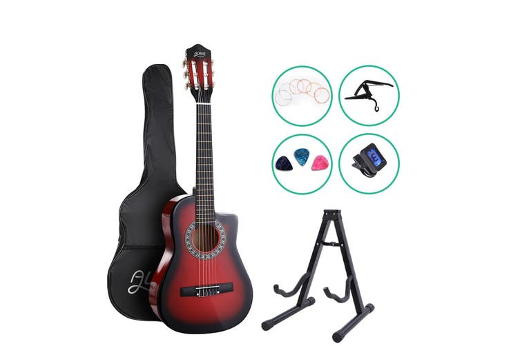 Alpha 34 Inch Guitar Classical Acoustic Cutaway Wooden Ideal Kids Gift Children 1/2 Size Red w/ Capo Tuner